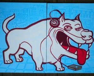 Urbandogg. Ce diptyque mordant et coloré d'Eldiablo ( qui n'est autre que le papa des Lascars) nous plonge immédiatement dans son univers street culture…  Oeuvre originale  Dimensions : 70 x 100 cm