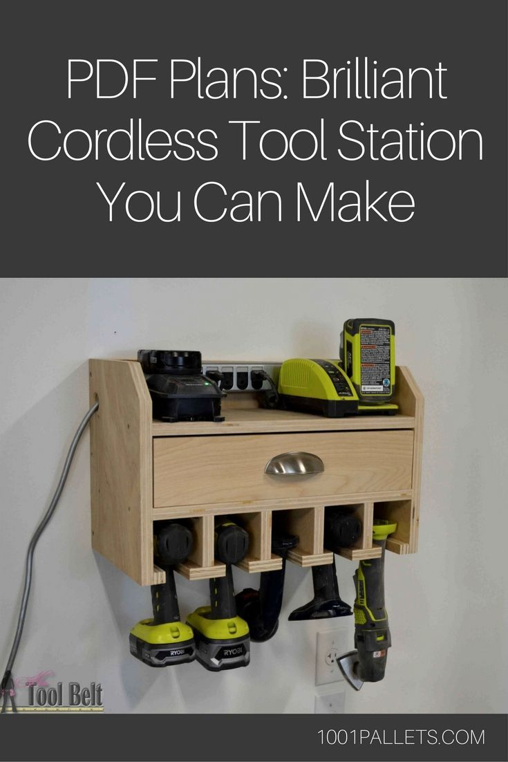 Properly organizing and storing our tools is something most of us strive for, but it's an ongoing process. That's why you have to check out this Brilliant Cordless Tool Station you can make from scrap wood! #DIYHomeDecorPallets