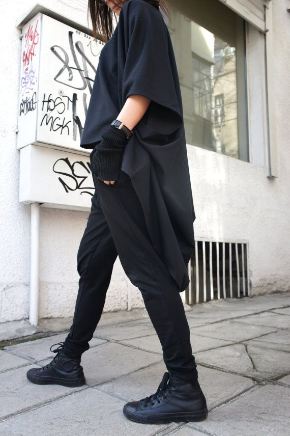 Oversized Loose Extra Large Black Blouse / Asymmetric by Aakasha