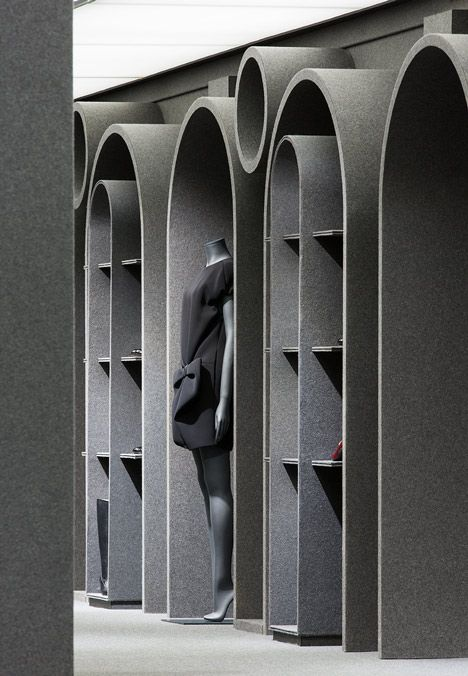 Viktor & Rolf's first flagship boutique is covered with grey felt
