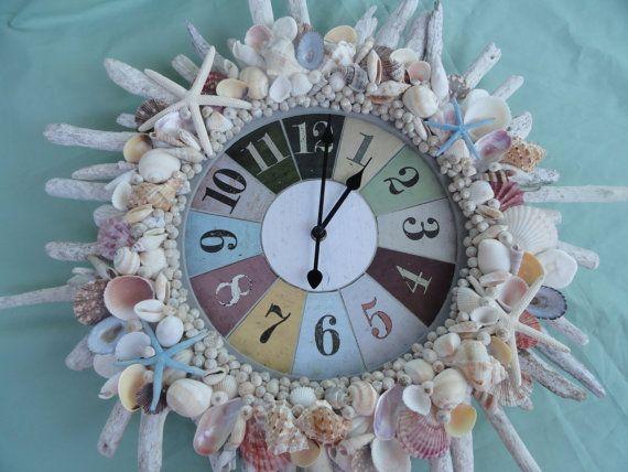 Driftwood and seashell wall clock very beachy nautical for Seashell wall clock