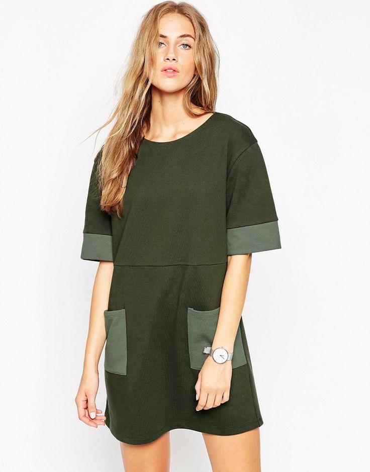 Image 1 ofASOS Sweat Tunic Dress With Patch Pockets