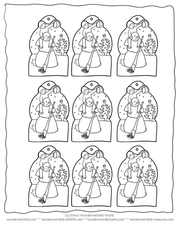Free Printable Christmas Tags Snowman to Color, @ wonderweirded.com Echo's Xmas Gifttags , this collection is great as Christmas Coloring Pages first before adding to Christmas Decorations
