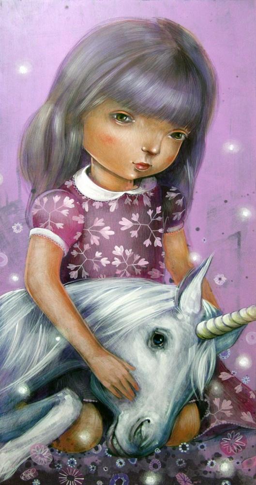 Illustration - Girl with unicorn