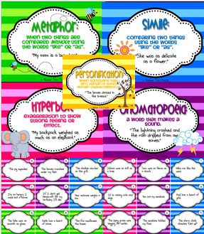 This pack address five types of figurative language including metaphors, similes, onomatopoeia, personification, and hyperbole. It has everything you will need to teach these forms of figurative language including: posters, cooperative learning activities, literacy centers, and an assessment. $