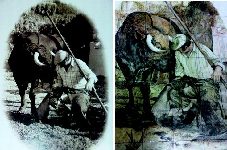 Realizado para el Mesón La Pechá en Los Boliches de Fuengirola. Este sería el resultado cuando pinto un mural encargado partiendo de una fotografía. Puedes ver como trabajo mis encargos aquí: http://www.isabelgan.es/trabajos.html y 2 vídeos de como pintar sobre azulejo en you Tube:   http://youtu.be/rYeTQulQVrw   http://youtu.be/fC3pynHMYNI
