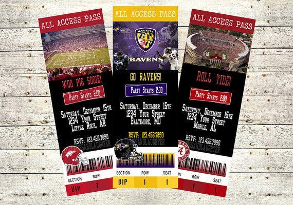 Football Ticket Invitations Alabama Ravens Razorbacks LSU Saints Cowboys Any Team You Want via Etsy
