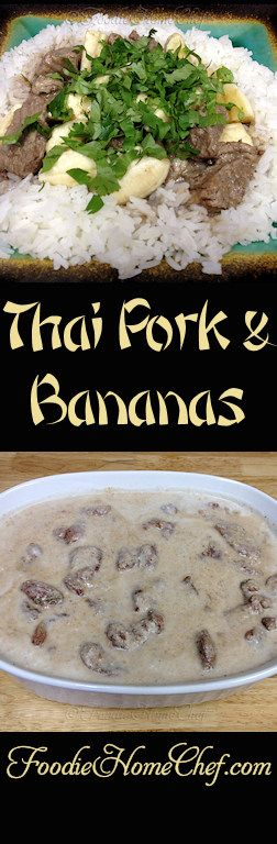 Thai Pork & Bananas - Once you & your family taste this magnificent dish you'll be making it over & over again. Every guest you serve it to will be begging for the recipe! The pork is unbelievably tender, the sauce is wonderfully tasty & creamy and the bananas add just a bit of sweetness. --------- #Food #Cooking #Recipe #Recipes #Cuisine #GreatFood #HomeCooking #ComfortFood #ThaiFood #ThaiRecipes #AsianFood #AsianRecipes #Stews #StewRecipes #PorkRecipes