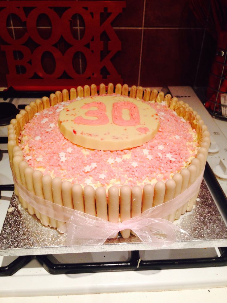 White chocolate 30th birthday cake for my sister