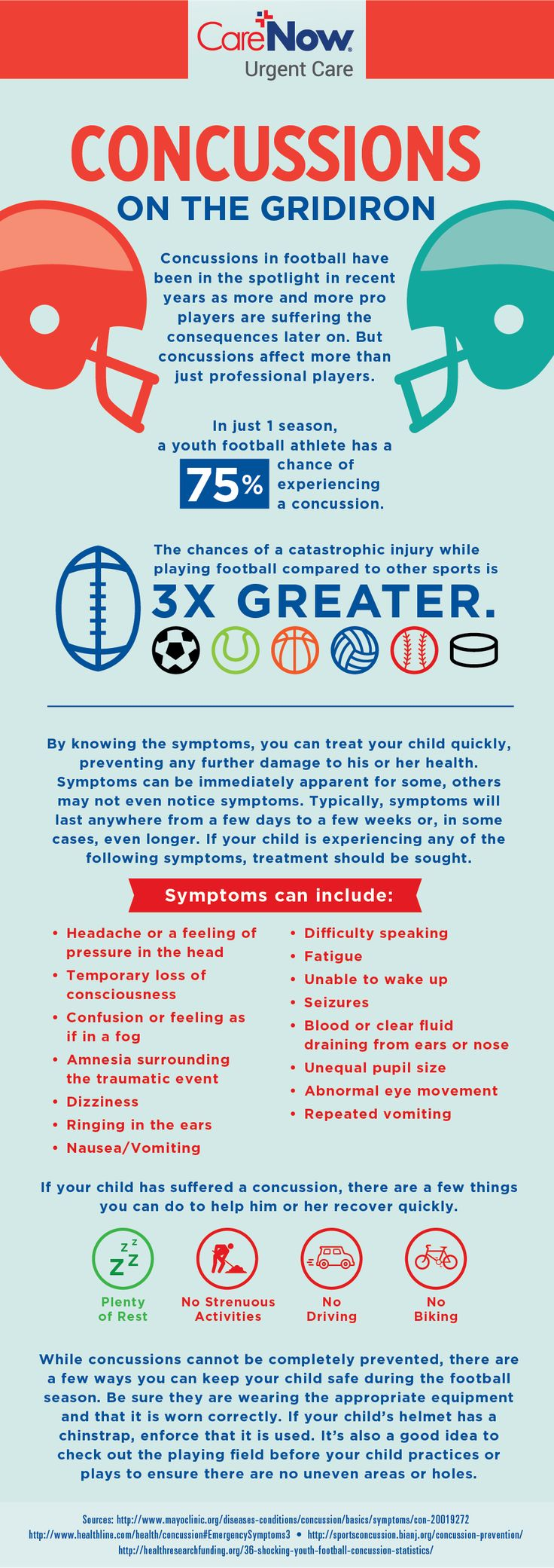 By knowing the symptoms of #concussions, you can treat your child quickly, preventing any further damage. Learn more!