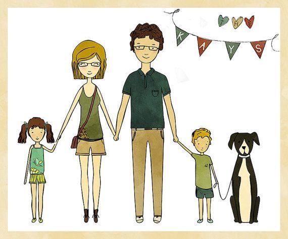 CUSTOM FAMILY PORTRAIT-Bespoke Family Portrait-Personalized Family Illustration-Family Gift-Cartoon Family-Custom Hand drawn illustration