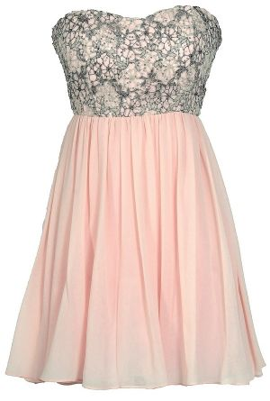 Stars In The Sky Sequin Lace Overlay Designer Dress by Minuet in Pink