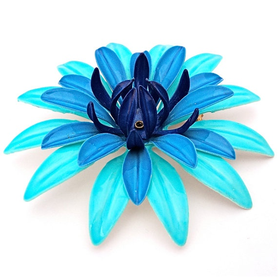 LARGE Vintage ENAMEL Flower Brooch 1960s Flower Power by malibloom, $18.00