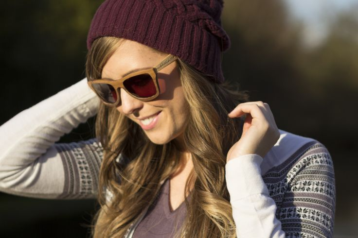 John Smedley knitwear: Cute bobble hat Dita, in Black Cherry, Signature cardigan in Winter White and slim fit vee neck Orchid, in Dusty Lilac. Worn with 'Squires' sunglasses from Moat House Eyes. www.johnsmedley.com