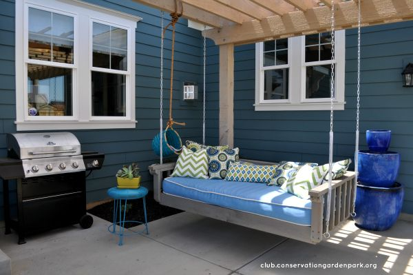 get memory foam topper or camping foam for mattress for outdoor   Hanging Daybed Swing http://club.conservationgardenpark.org/2012/08/diy-blogger-house-tutorial-hanging-daybed-swing-part-2/