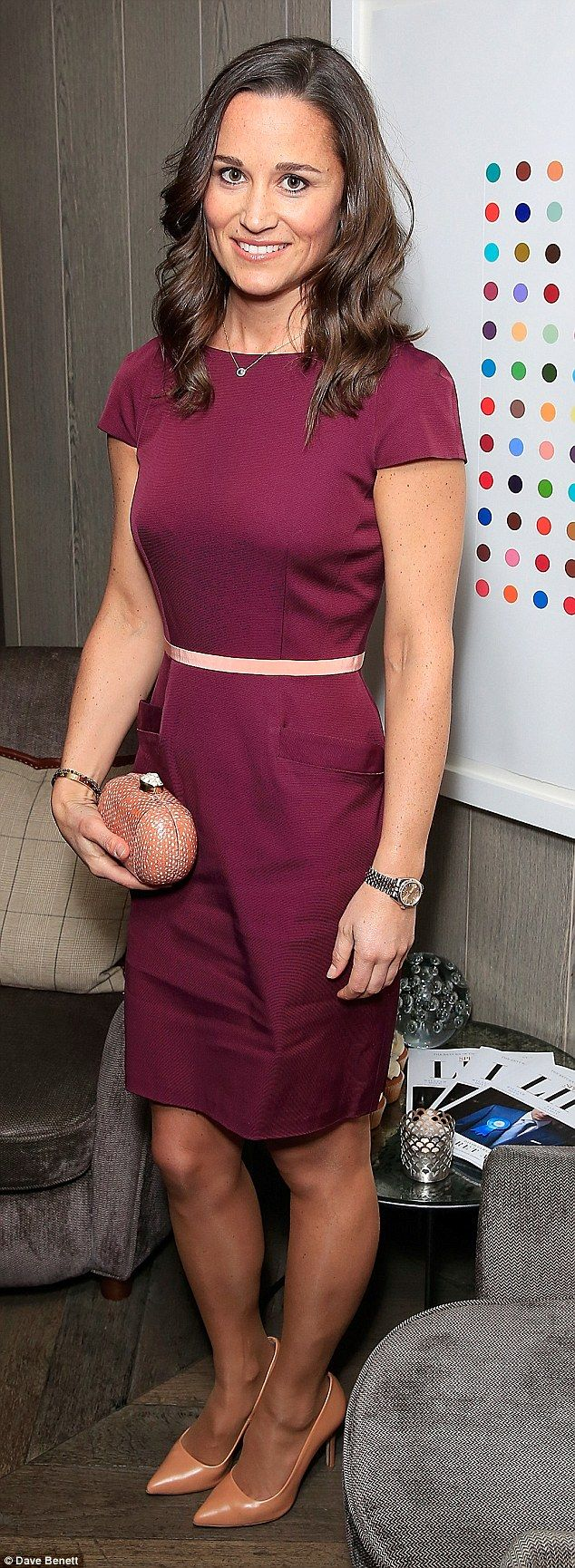 Plum dream: Pippa looked happy and relaxed in the purple dress at Spectator Life's third b...