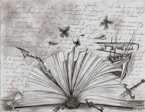 """An open book...with quotes (in fancy script) from older books in the background and pictures from children's books seeping from the pages. Along the bottom of the book in clear, type writter font, """"A book is an ice-axe to break the seas frozen inside our soul."""""""