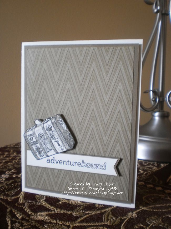 This is card 2 of 24 created as part of a personal World Cardmaking Day 2014 challenge.  It uses the Traveler stamp set from Stampin' Up!  #WCMD2014  http://tracyelsom.stampinup.net