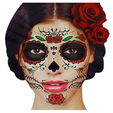 For sale online Glitter Red Roses Day of the Dead Sugar Skull Temporary Face Tattoo Kit - Pack of 2 Kits for  Halloween Gifts Idea Online for  #Halloween Gifts Idea Deals