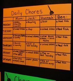 Repinned: Chore chart. Laminate it so kids can check things off and re-write it each week.
