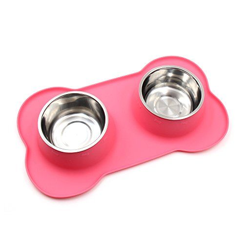 FAMONEY Dog Bowls Stainless Steel Dog Bowl with No Spill NonSkid Silicone Mat 122448 oz Feeder Bowl Pet Bowl for Dogs Cats and Small Pets Pink L Size * Read more reviews of the product by visiting the affiliate link Amazon.com on the image.