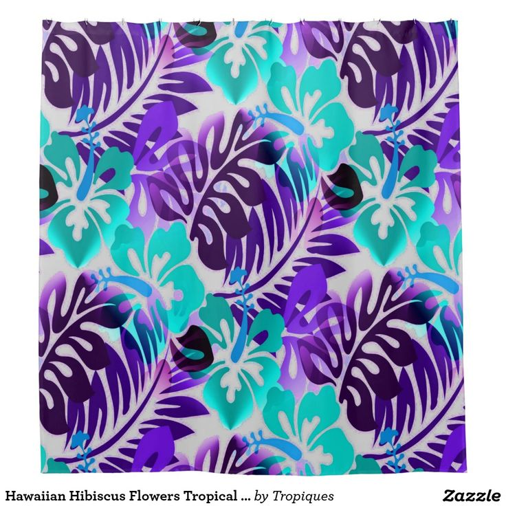 Hawaiian Hibiscus Flower Tropical Print bright turquoise blue and violet purple shower curtain will give your bath a bright airy island feel with a hint of retro inspiration. Coastal beach house bathroom decorating idea.