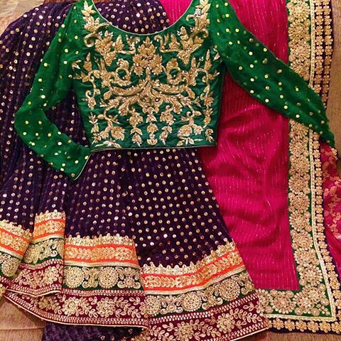 Beautiful Purple Pink and Bottle Green Mehndi Lehnga Choli To order email us at  order@urbancoutureclub.com For more designs visit www.urbancoutureclub.com