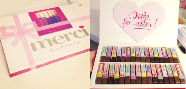 """easy #thankyou #gift: """"merci"""" chocolate, adding notes stating things to be thankful for"""