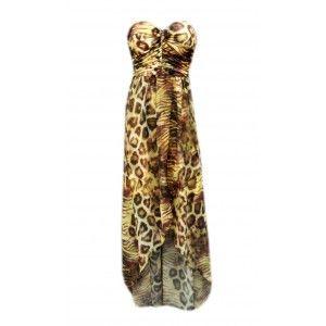 "Strapless Dress ""Roarrrrrr""with animal print on www.casj.nl"