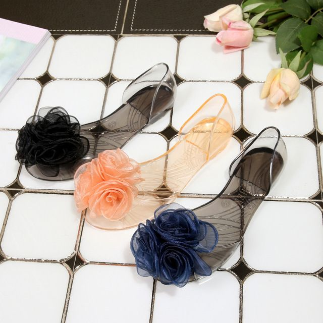 Summer Three Flowers Flat Sandals Fish Mouth Beach Crystal Candy Plastic Shoes