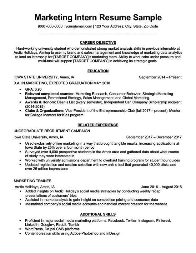 Digital Marketing Resume Example Superb Marketing Intern Resume