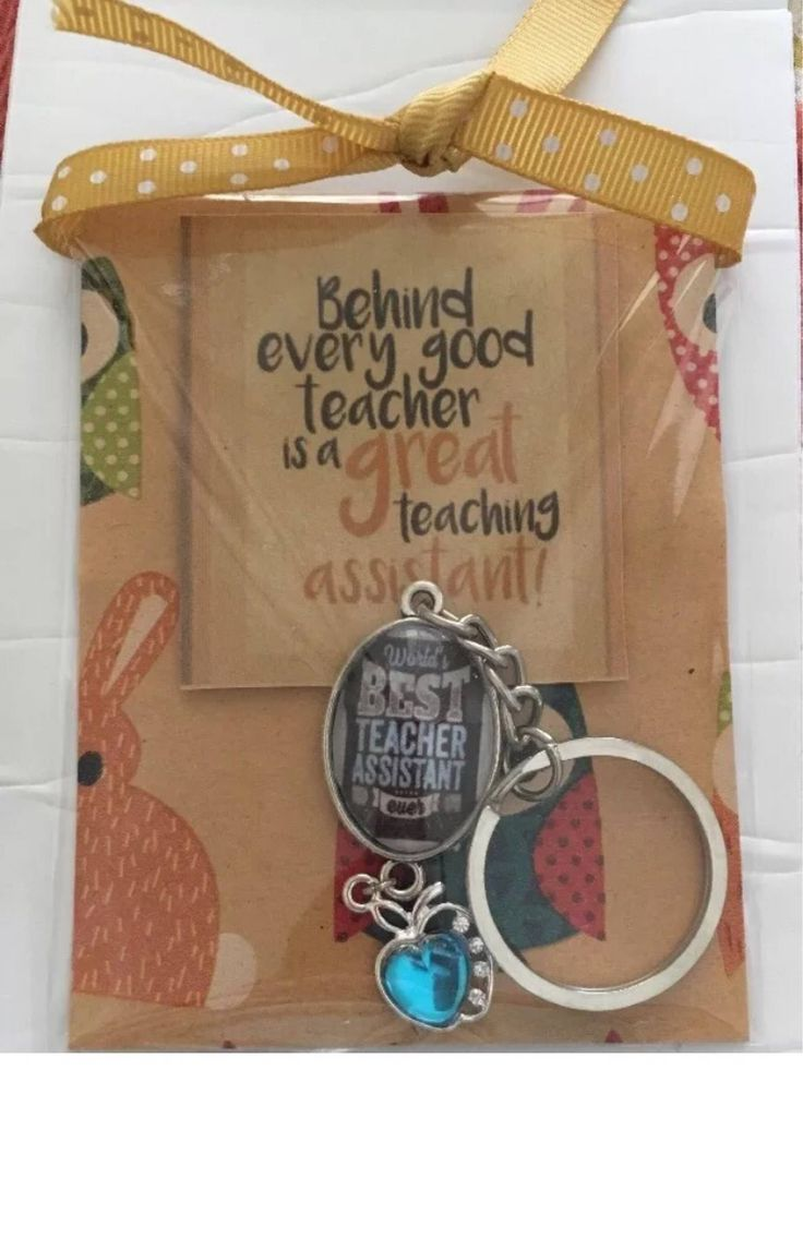 A personal favourite from my Etsy shop https://www.etsy.com/au/listing/544719312/worlds-best-teacher-assistant-keyring