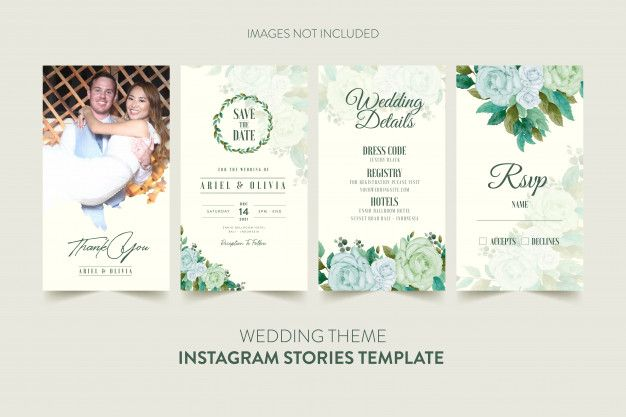 Instagram Stories Template For Wedding Invitation Card With Watercolor Flower And Leaves Wedding Invitation Cards Floral Wedding Invitation Card Floral Wedding Stationery