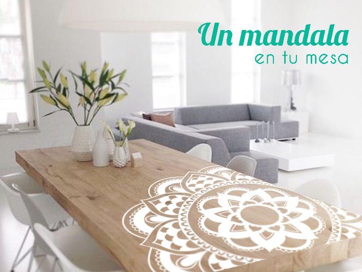 Un mesa de madera, un vinilo mandala y tu salón quedará increíble. DISFRÚTALO EN NUESTRA WEB http://dolcevinilo.es/vinilo-mandala