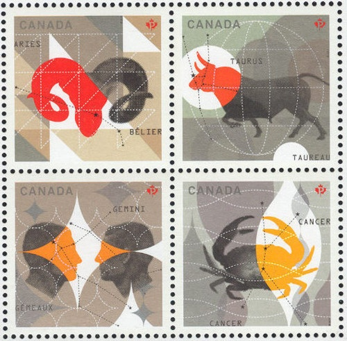 Canadian postage stamps - astrology --> http://All-About-Tarot.com <--