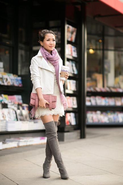 Crisp Spring :: Ivory jacket & Lace dress by Wendy's LookBook