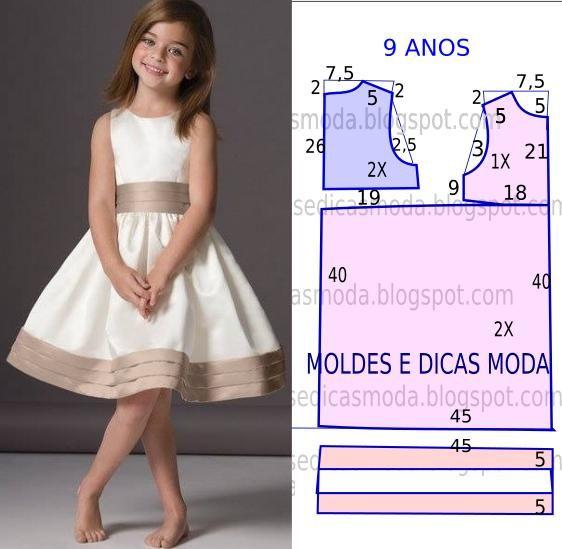 O molde de vestido criança encontra-se no tamanho 9 anos. A ilustração do molde de vestido criança não tem valor de costura.