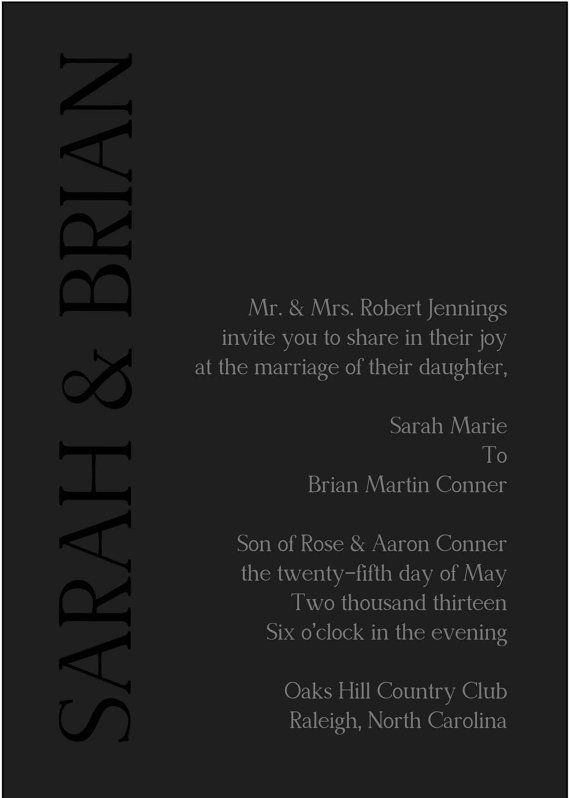 Black on Black  Wedding Invitation set of 50 by executivecreations, $100.00