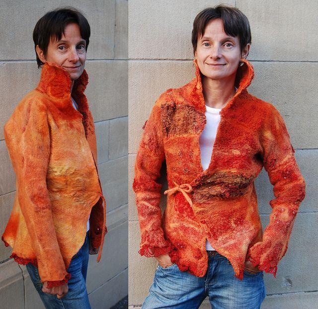 Orange nunofelt jacket by Gaja-filz design