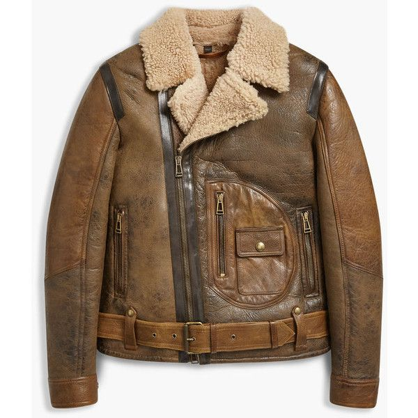 Danescroft Shearling Aviator Jacket (3,810 CAD) ❤ liked on Polyvore featuring outerwear, jackets, brown shearling jacket, waxed jackets, aviator jacket, vintage aviator jacket and brown jacket