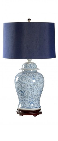 blue and white lamp with navy shade InStyle-Decor.com