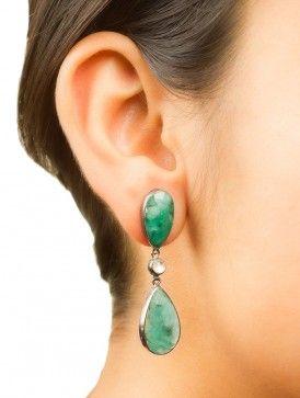 Emerald-Ruby Drop Silver Earrings