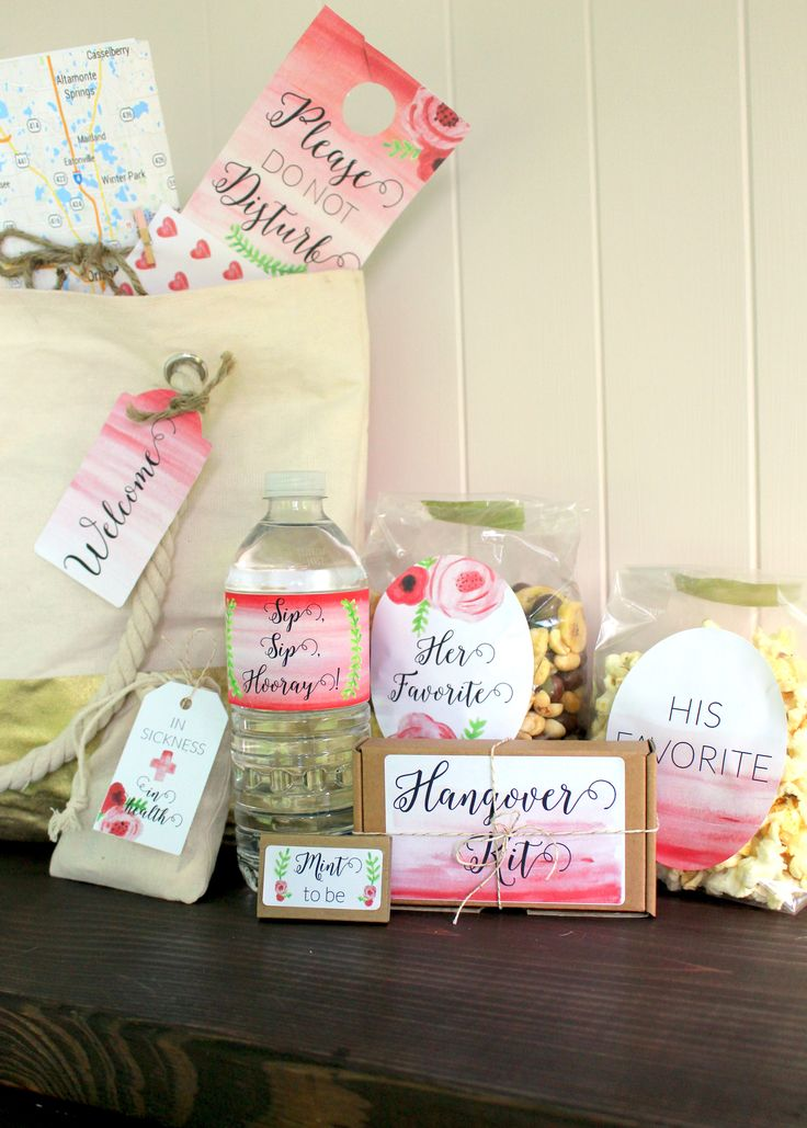 Wedding welcome bag for guests and bridal party.