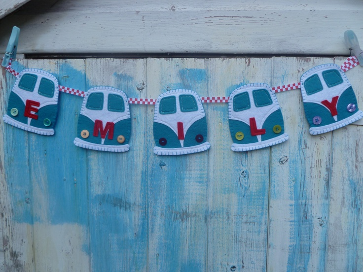 LOVE Felts personalised gifts-clothing-home-vw themed-bunting-cupcakes - kombi
