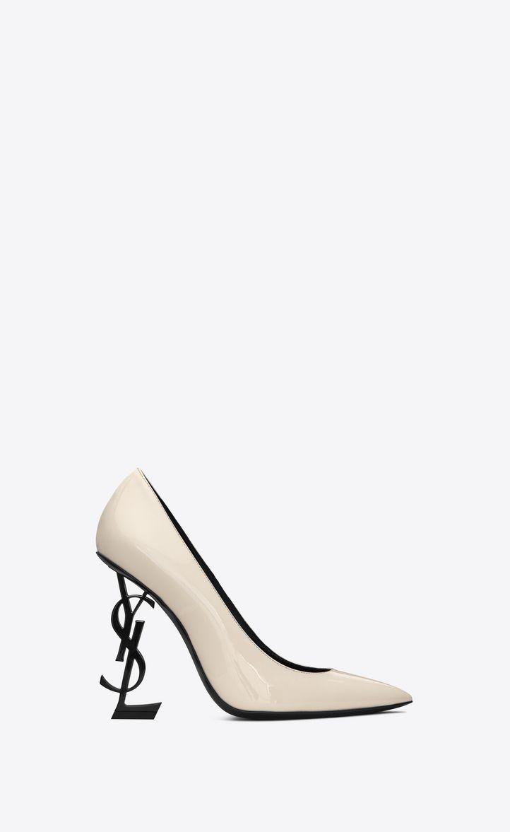 Saint Laurent Opyum Pumps With Black Heel In Patent Leather In Latte Modesens In 2020 Heels Black Heels Ysl Heels
