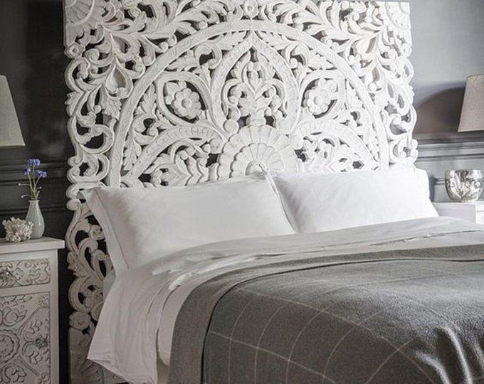 Sale 72 Large King Size Bed Mandala Bohemian White Etsy Headboards For Beds Carved Headboard White Paneling