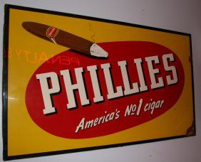 """PHILLIES CIGAR SIGN : Lot 245    Embossed painted sheet metal; great graphics; central image is attractive, however; (2) areas of rust on right edge and lower right corner; 34"""" x 58"""", G"""