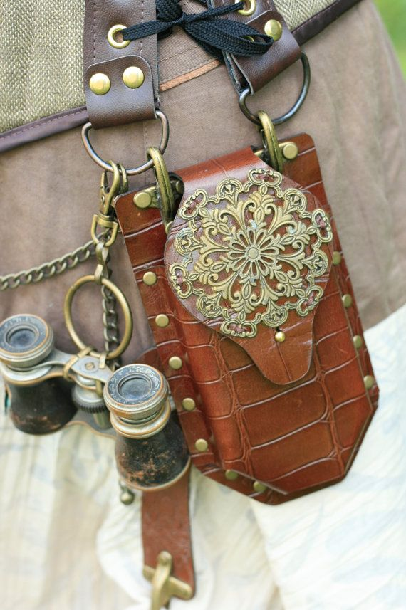 Steampunk Real Leather & brass phone case Corset Pocket Accessory on Etsy, $39.50