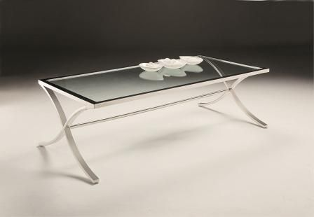 Elegance Coffee Table - Framed 12mm clear tempered glass tops with gently curved and crossed stainless steel legs
