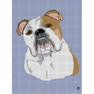 English Bulldog Dog Crochet Afghan Cross Stitch Pattern
